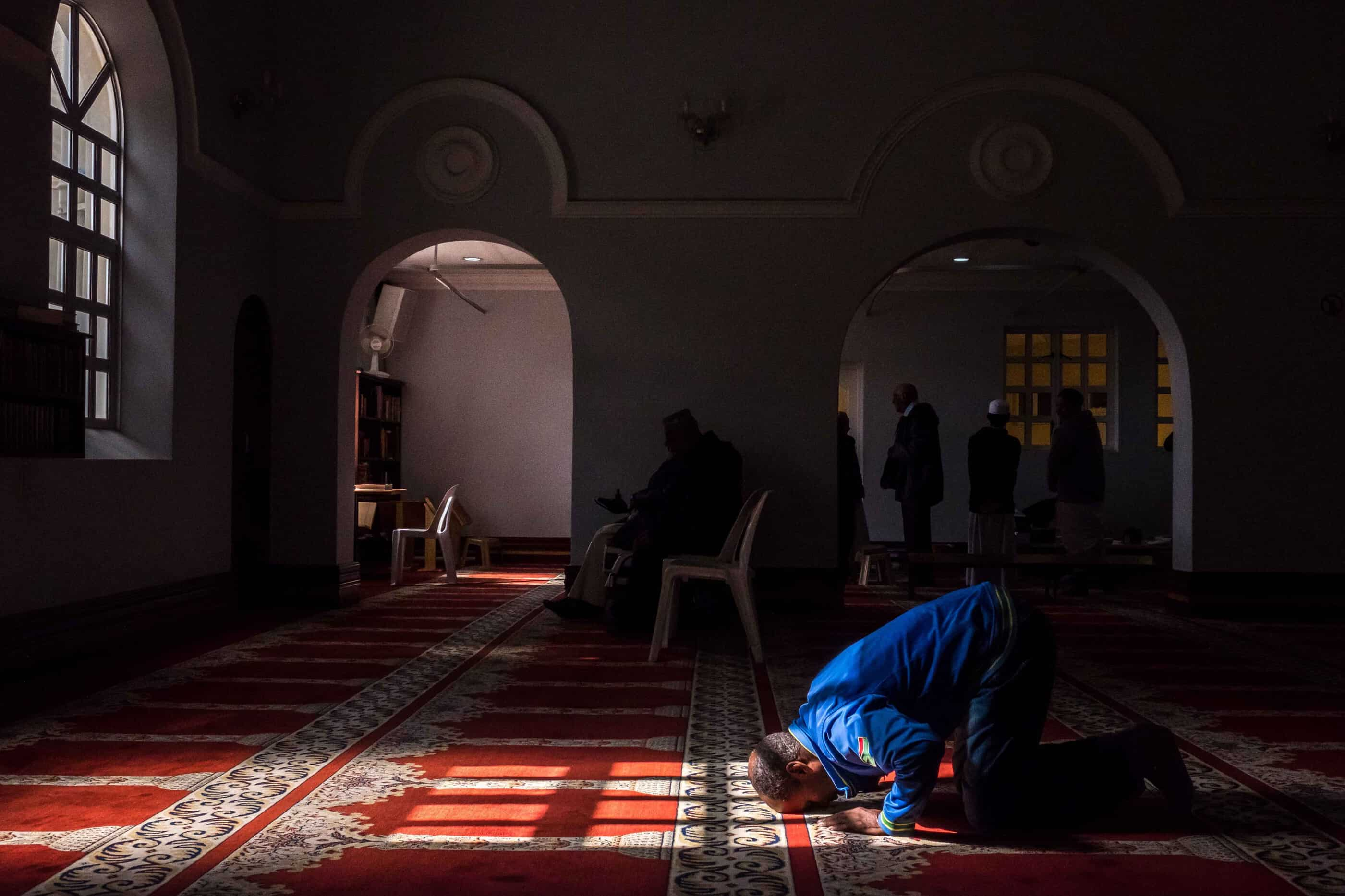 20 May 2019: A man praying at the Muir Street mosque in Cape Town's inner city.