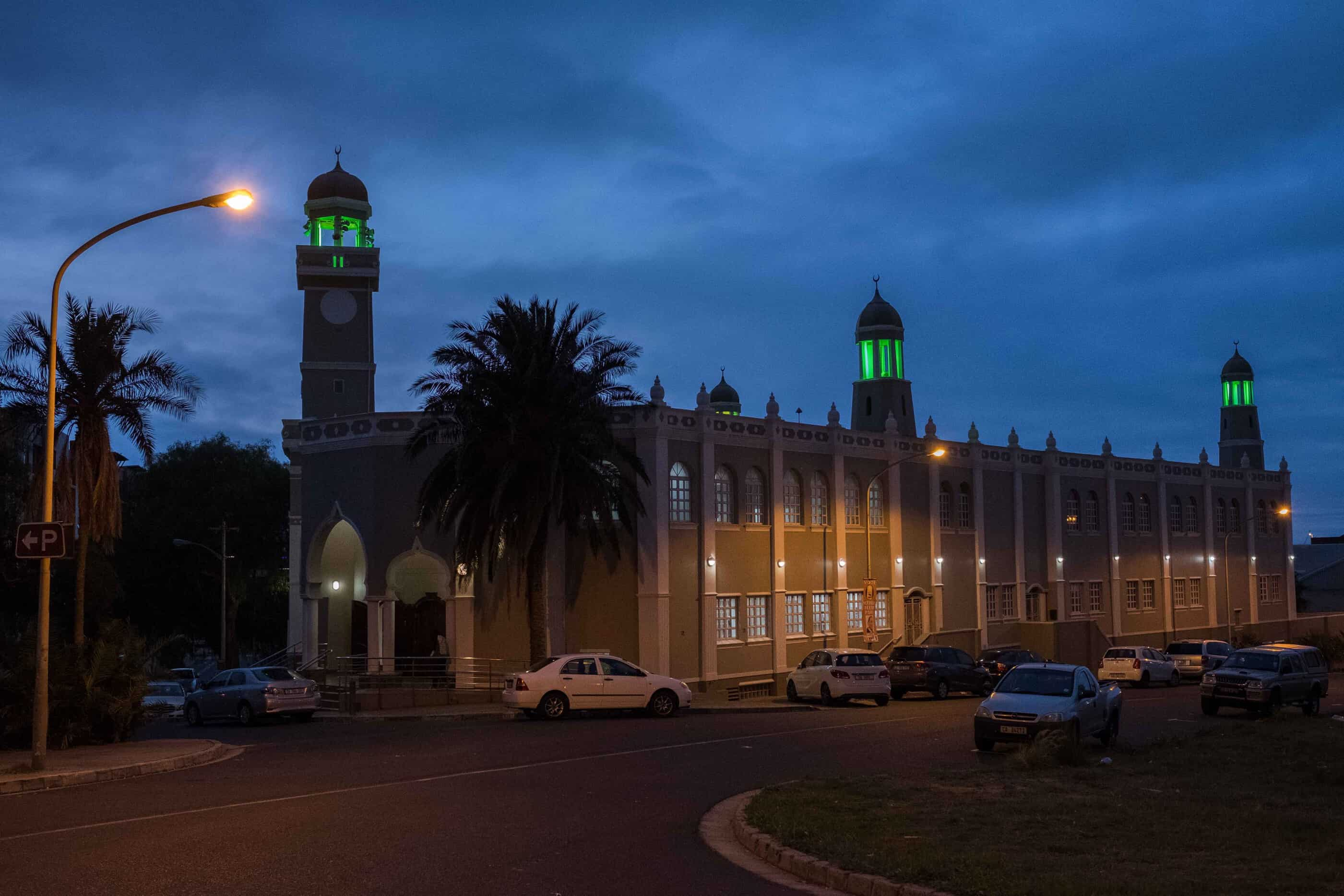 19 May 2019: The minarets are illuminated to alert people who cannot hear the athaan that it is time for prayer.
