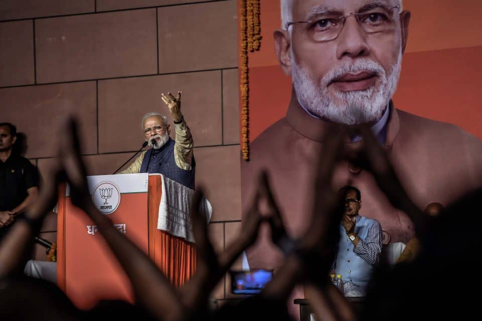 23 May 2019: Indian Prime Minister Narendra Modi addresses party workers at BJP headquarters in New Delhi after a landslide victory that will see him leading the country for another five years. (Photograph by Atul Loke/Getty Images)