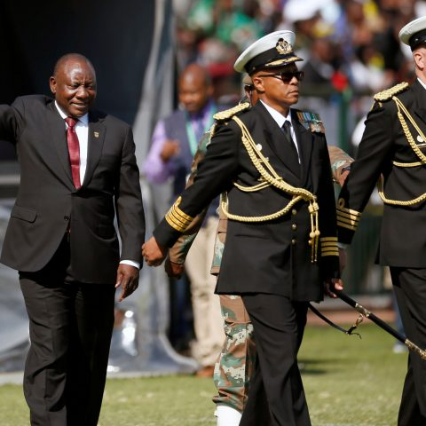 25 May 2019: Cyril Ramaphosa waves to the crowd at Loftus Versfeld Stadium in Pretoria after taking the oath of office at his inauguration as South African president. (Photograph by Reuters/Siphiwe Sibeko)