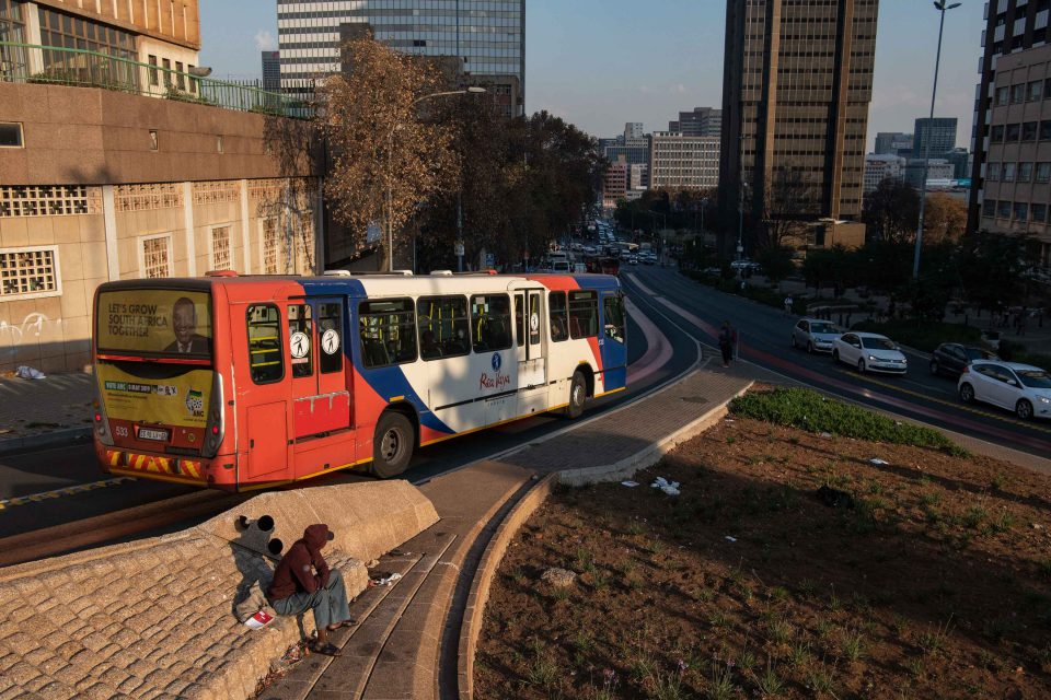 23 May 2019: A Rea Vaya bus makes it way towards the Park Station stop in Johannesburg. The Rea Vaya bus system will be 10 years old in August.