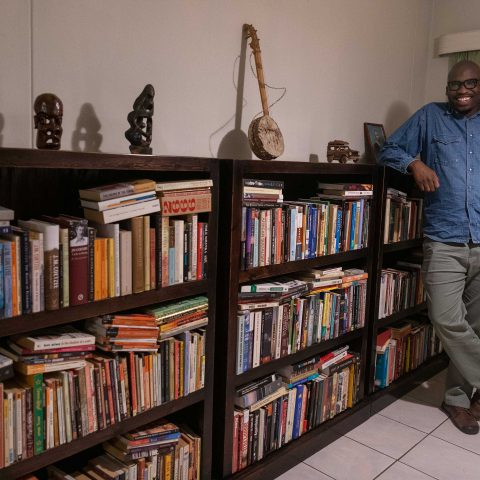 30 May 2019: Tendayi Sithole with some of his treasured books at his home in Johannesburg. He is the author of 'Steve Biko: Decolonial Meditations of Black Consciousness'.