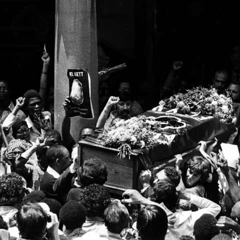 13 February 1982: The funeral of Neil Aggett, the trade unionist and labour activist who died while being held in detention by the security police. The service was held at St Mary's Cathedral in central Johannesburg. (Photograph by Juhan Kuus)