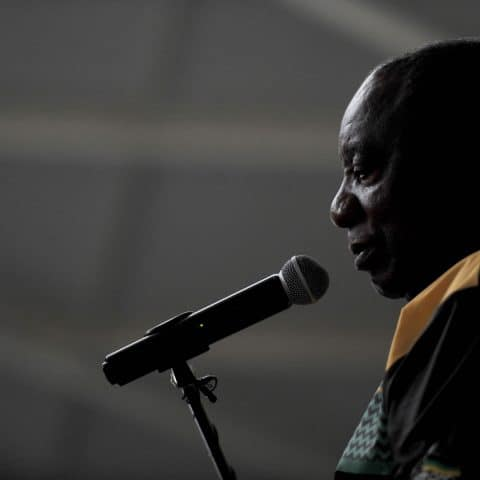 23 March 2019: President Cyril Ramaphosa listens to farm workers from Citrusdal in the Western Cape. DA provincial minister Bongi Madikizela accused Ramaphosa of lying about housing during campaigning. (Photograph by Gallo Images/Netwerk 24/Edrea du Toit)