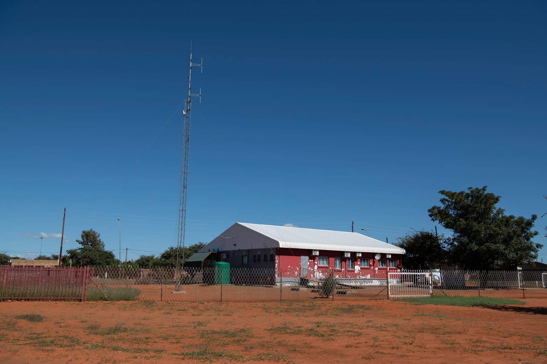 25 April 2019: The X-K Fm radio station building in Platfontein in the Northern Cape.