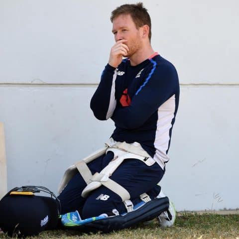 19 February 2019: England one-day captain Eoin Morgan pauses for thought during a net session at The Kensington Oval in Bridgetown, Barbados. (Photograph by Gareth Copley/Getty Images)