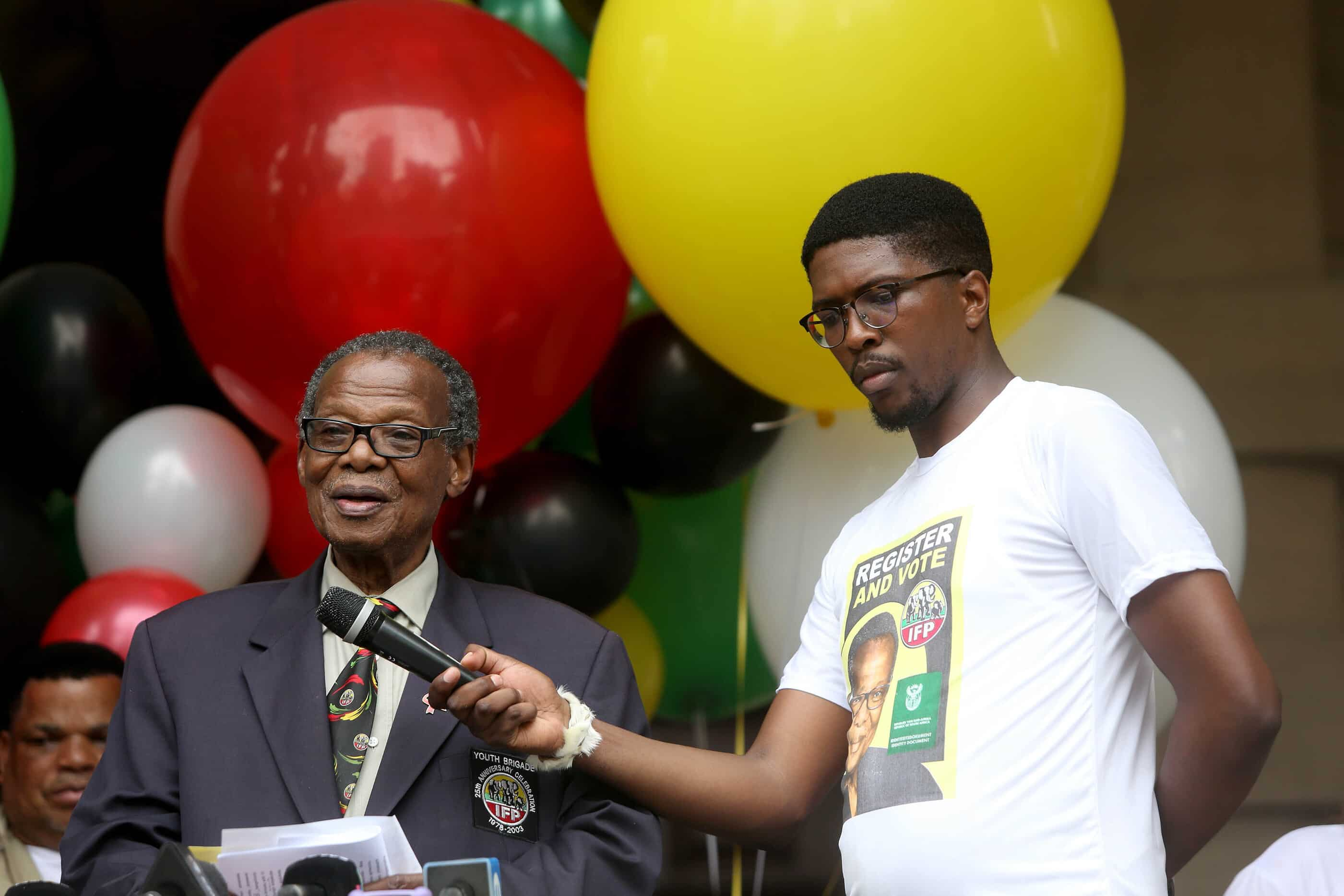 15 January 2019: IFP leader Mangosuthu Buthelezi urged his supporters to get ready to vote during the launch of his party's voter registration campaign outside the Durban City Hall. (Photograph by Gallo Images/Sowetan/Thuli Dlamini)