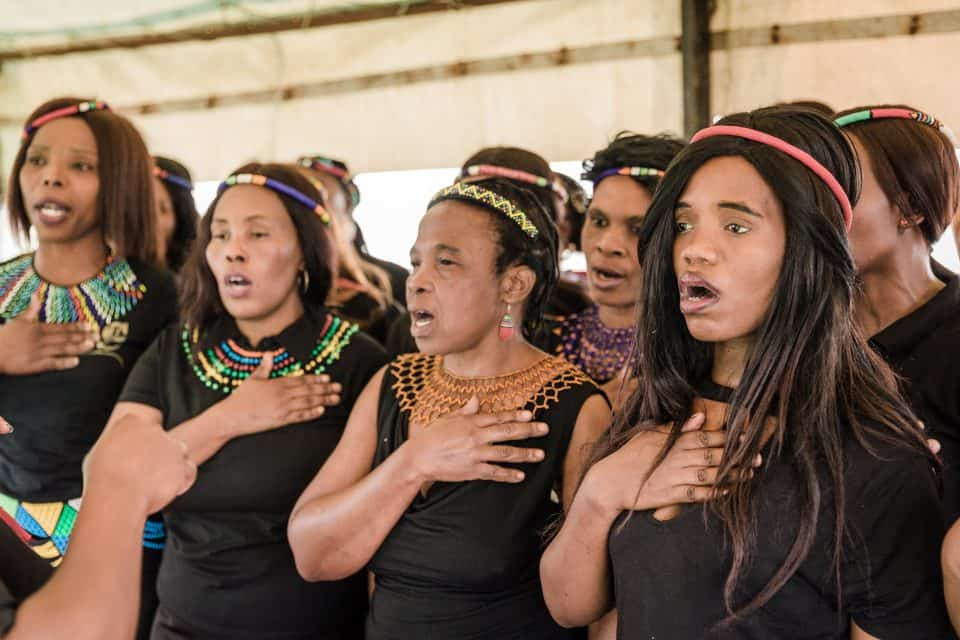 28 April 2019: The Abahlali baseMjondolo choir performed material from their 2018 debut album 'Abahlali baseMjondolo: Choral Music in Post-Marikana South Africa' at Unfreedom Day in Durban.