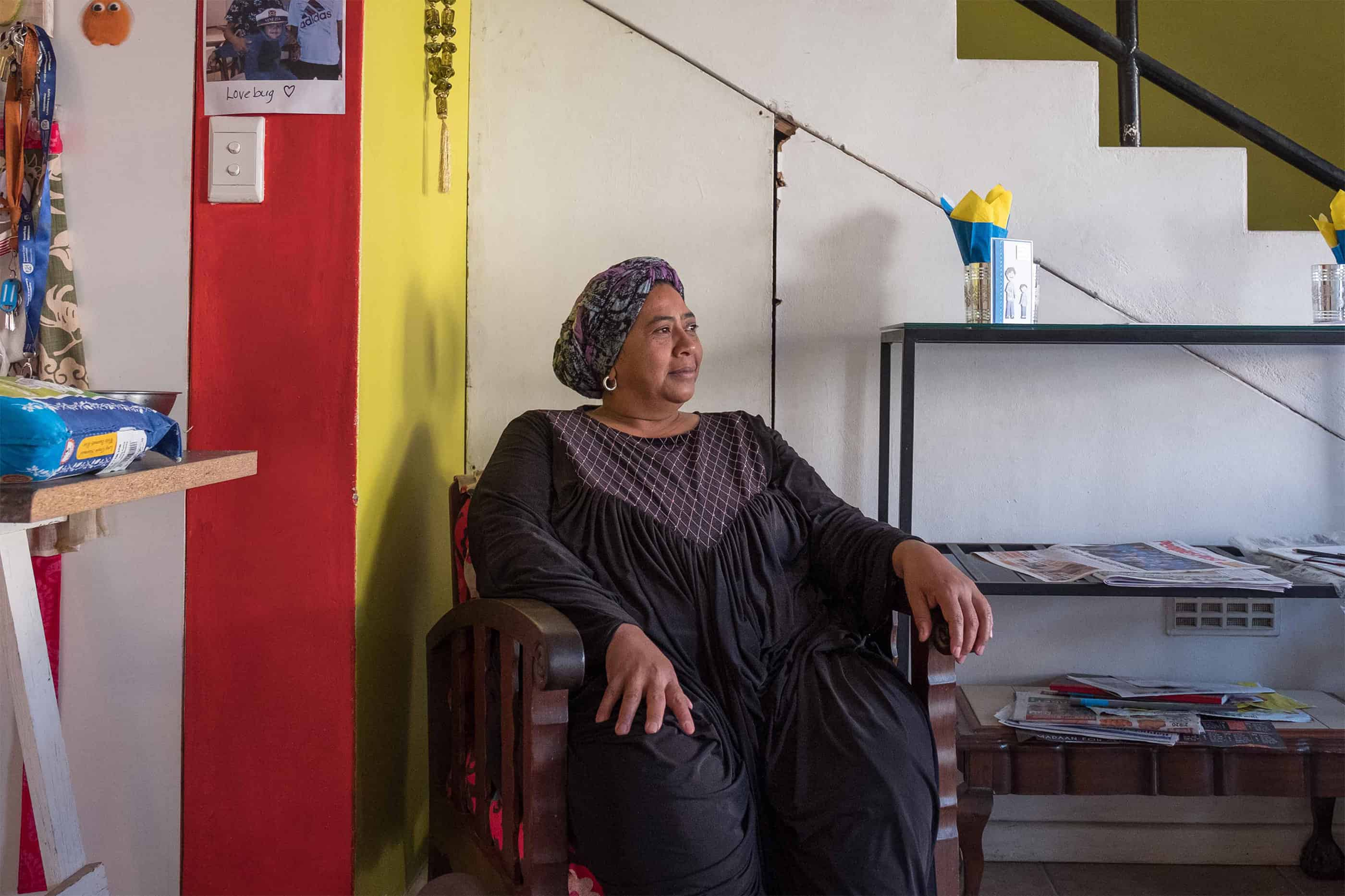 17 May 2019: Fairuz Achmat-Basardin at her home in District Six. She remembers children of all religions frequenting the mosque when she was growing up there.