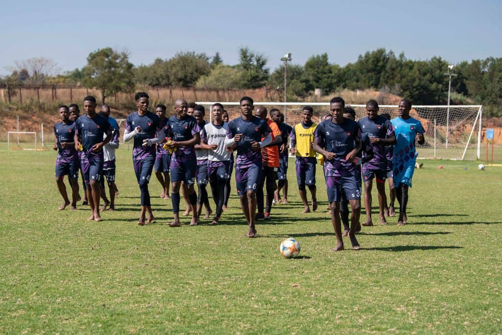 14 May 2019: TS Galaxy players do a final warm-down lap during a training session at the Panorama Sports Club in Roodepoort ahead of the Nedbank Cup final. (Photograph by Ihsaan Haffejee)
