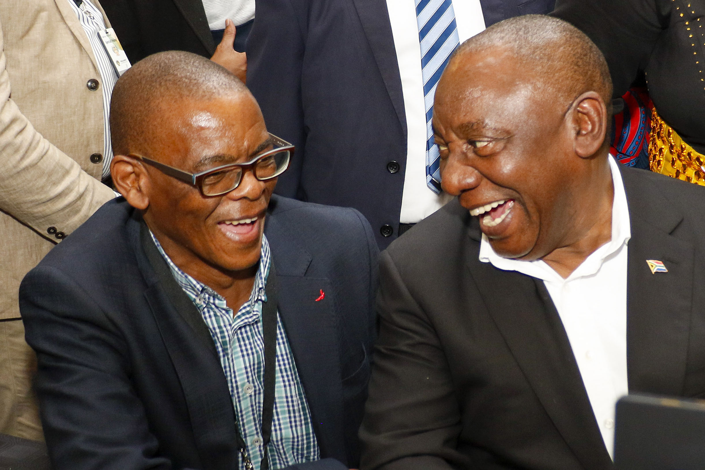 21 May 2019: ANC secretary-general Ace Magashule and ANC president Cyril Ramaphosa during the registration of new members of Parliament before the first sitting of the National Assembly. (Photograph by Gallo Images/Netwerk24/Adrian de Kock)