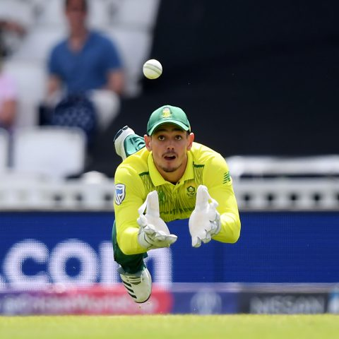 2 June 2019: Proteas' wicketkeeper Quinton De Kock about to take a spectacular diving catch to dismiss Soumya Sarkar of Bangladesh during a Group Stage match of the ICC Cricket World Cup at The Oval. (Photograph by Alex Davidson/Getty Images)