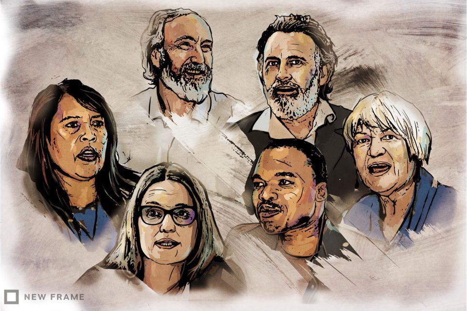 Clockwise from left: Davine Cloete, John Clarke, Cormac Cullinan, Sheila Berry, Mzamo Dlamini and Tracey Davies. (Illustration by Anastasya Eliseeva)