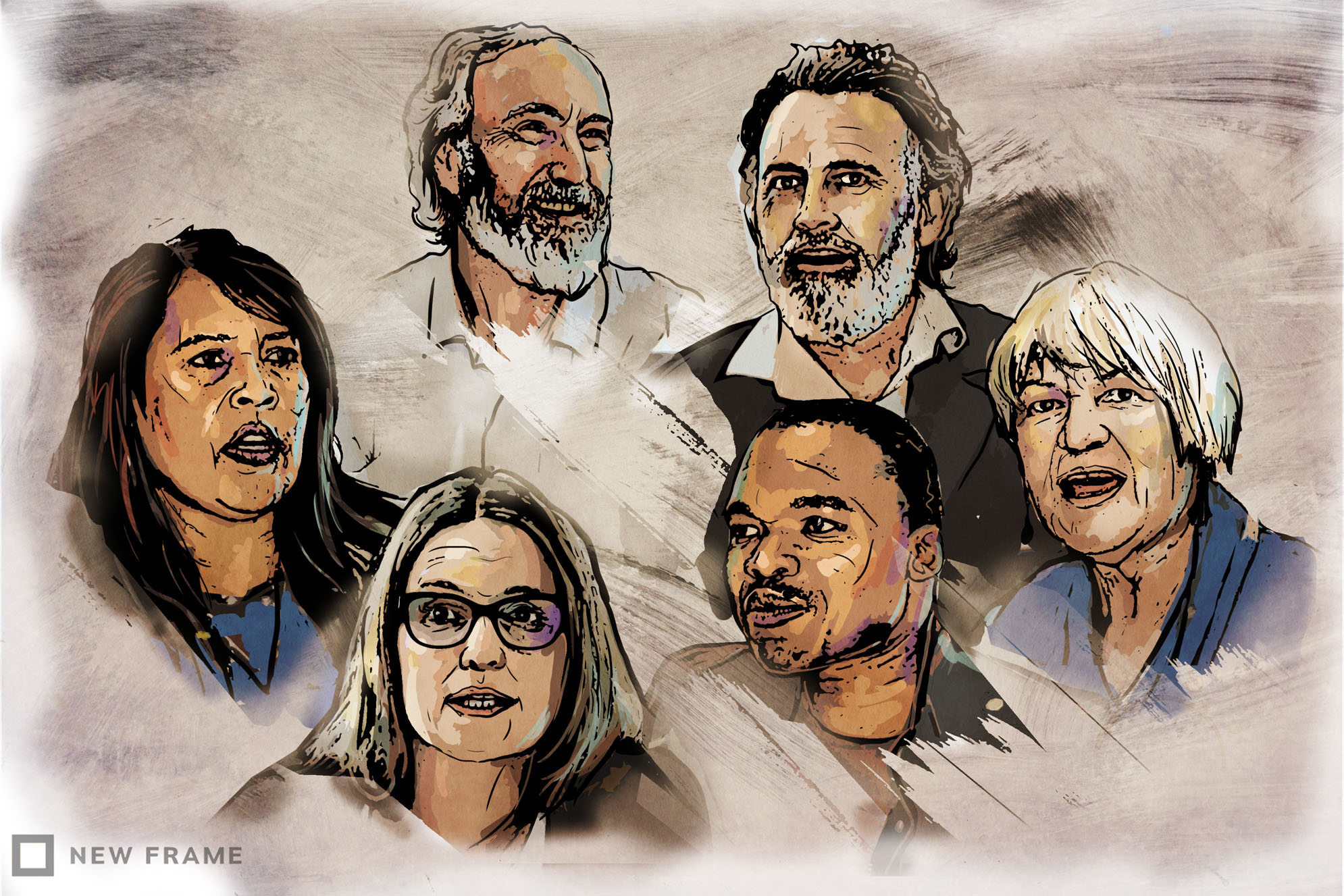 Clockwise from left: Davine Cloete, John Clarke, Cormac Cullinan, Sheila Berry, Mzamo Dlamini and Tracey Davies. (Illustration by Anastasya Eliseeva)