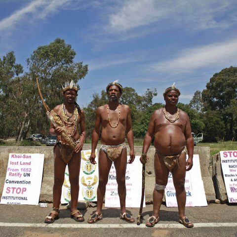 16 December 2017: Members of the Khoisan Mass Movement picketing outside Nasrec Centre in Johannesburg, where the ANC held its 54th National Conference. (Photograph by Oupa Nkosi/Mail & Guardian)