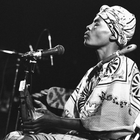 24 February 1988: Zimbabwean musician Stella Chiweshe performs at the Melkweg in Amsterdam, Netherlands. (Photograph by Frans Schellekens/Redferns)