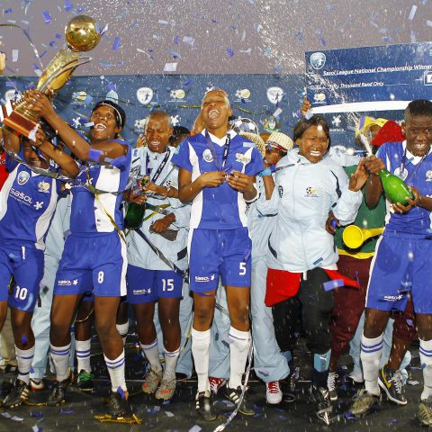 1 July 2012: The now defunct Palace Super Falcons celebrate winning the Sasol Women's League at King Zwelithini Stadium in Durban. (Photograph by Anesh Debiky/Gallo Images)