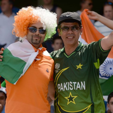 18 June 2017: Spectators at the final ICC Champions Trophy match between India and Pakistan at the Oval cricket ground in London, England. (Photograph by Philip Brown/Getty Images)
