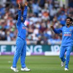 12 July 2018: Kuldeep Yadav of India celebrates with Yuzvendra Chahal after dismissing David Willey of England during the Royal London One-Day Cup match at Trent Bridge in Nottingham, England. (Photograph by Gareth Copley/Getty Images)