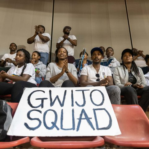 1 June 2019: The Gwijo Squad supporting the Eastern Cape Aloes at a Telkom Netball League fixture in the University of Pretoria's Rembrandt Hall.