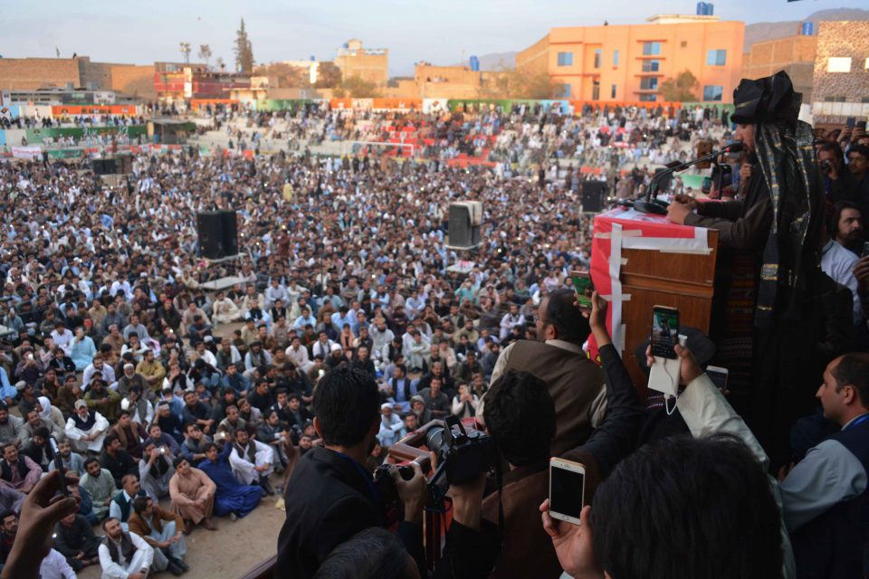 11 March 2018: Pashtun Tahafuz Movement founder Manzoor Pashteen addressing a public gathering in Quetta, Pakistan. (Photograph by Din Muhammad Watanpaal/Alamy Live News)