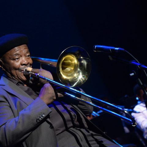 28 February 2019: Jonas Gwangwa performing at the official memorial service of jazz legend Dorothy Masuku at the Joburg Theatre in Johannesburg. (Photograph by Gallo Images/Oupa Bopape)