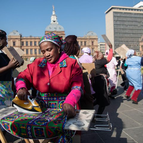 17 June 2019: Domestic workers gather in Church Square in Tshwane in preparation for the start of their march to the Union Buildings in protest against unfair labour practices and low pay.