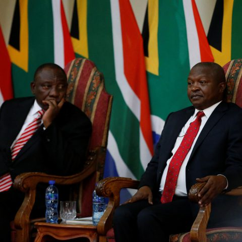 30 May 2019: President Cyril Ramaphosa (left) glances at Deputy President David Mabuza after the latter's swearing-in ceremony in Pretoria. (Photograph by Reuters/Siphiwe Sibeko)