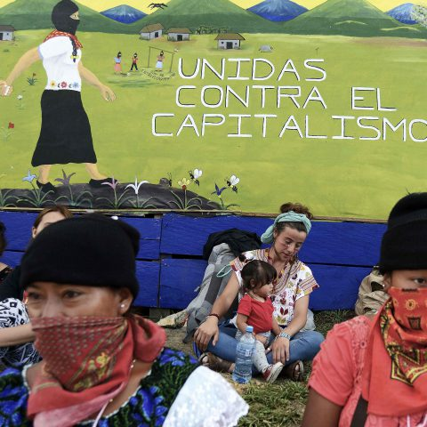 8 March 2018: Thousands of women from around the world took part in the First International Gathering of Politics, Art, Sport and Culture for Women in Struggle, held in Morelia, Chiapas, Mexico. (Photograph by Simona Granati - Corbis/Getty Images)