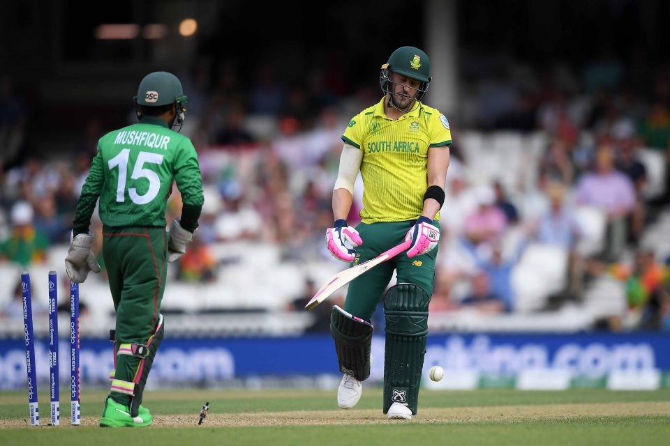 2 June 2019: Proteas skipper Faf du Plessis shows his disappointment at being bowled by Mehedi Hassan of Bangladesh in a group stage match at the ICC Cricket World Cup. (Photograph by Alex Davidson/Getty Images)