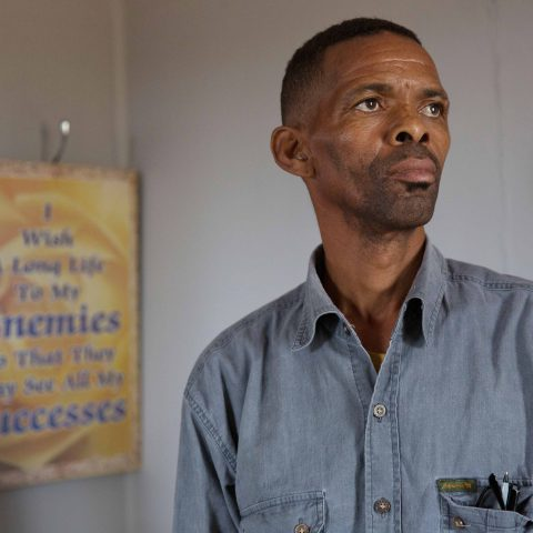 25 May 2018: Zwelothando 'Apie' Moni, one of the Blaauwkrantz farm workers involved in a land dispute with Eastern Cape farmer Arthur Rudman. (Photograph by James Oatway)