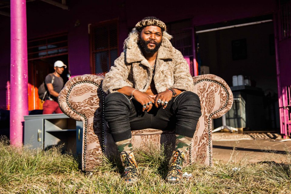 22 May 2018: Sjava on an armchair in the Joburg suburb of Malvern. (Photograph by Sabelo Mkhabela)