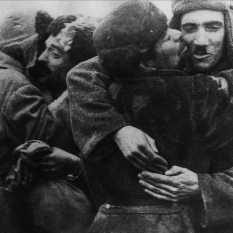 Circa 1944: Russian peasants hugging Red Army soldiers in a village recaptured by the Soviets. (Photograph by Keystone/Getty Images)