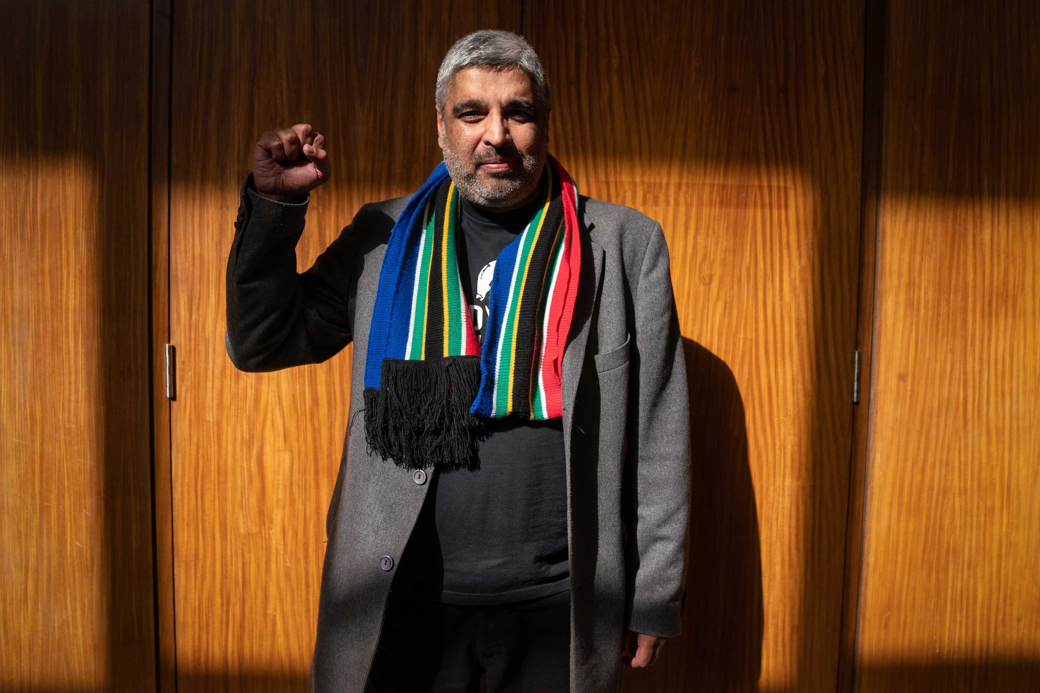 3 June 2019: Ahmed Timol's nephew, Imtiaz Cajee, outside the courtroom in which Joao Rodrigues' appeal to have the murder case against him dropped was denied.