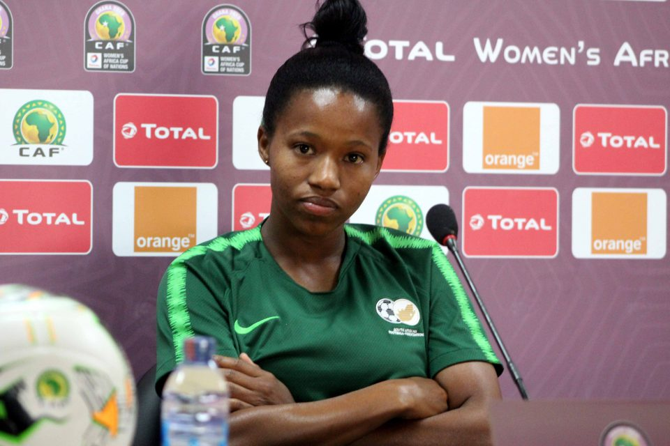 30 November 2018: Jermaine Seoposenwe of South Africa at a press conference in Accra, Ghana, during the Total African Women's Cup of Nations. (Photograph by Samuel Ahmadu/Gallo Images)