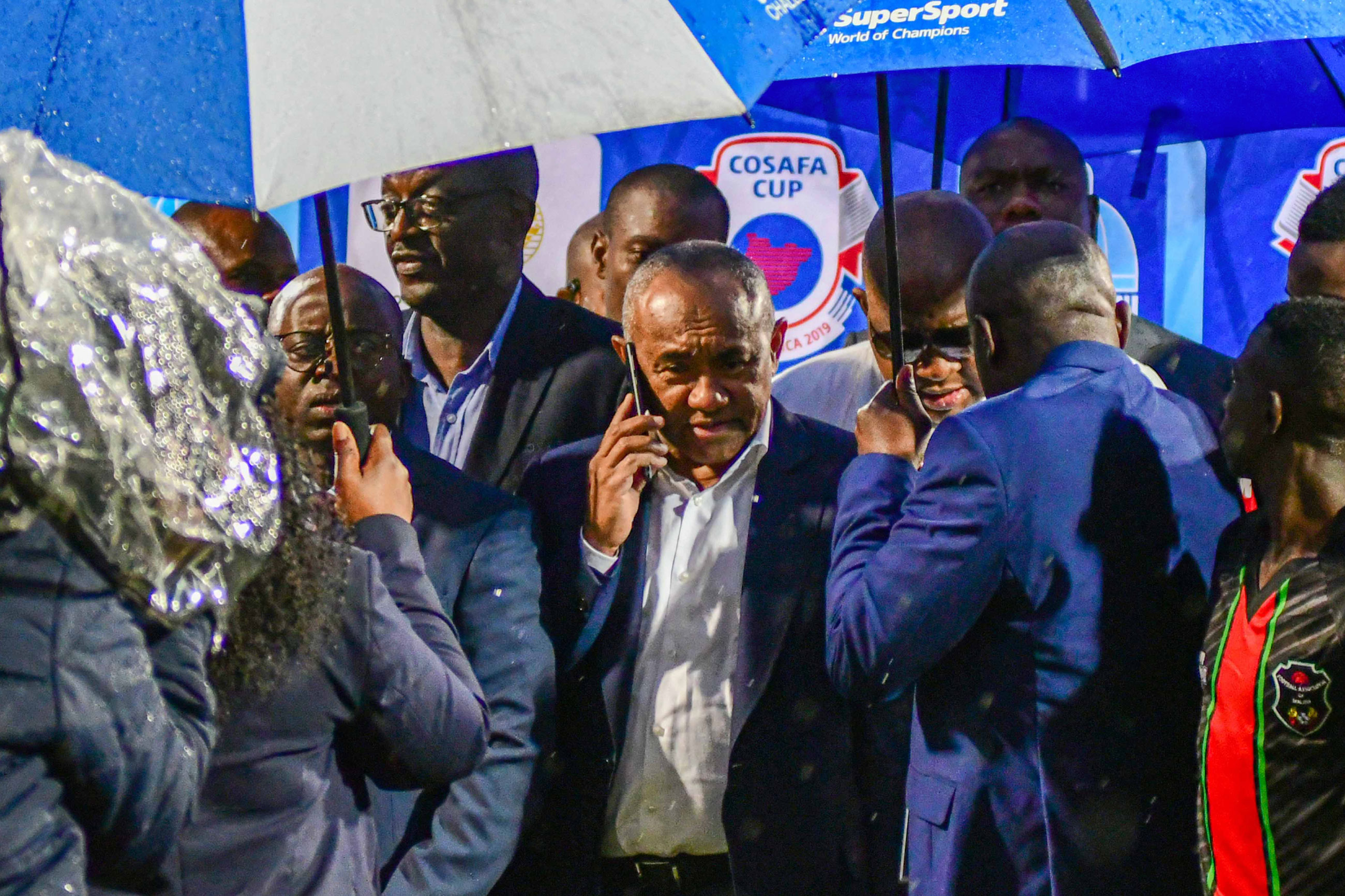 28 May 2019: Confederation of African Football president Ahmad Ahmad (centre) at the Cosafa Cup match between Namibia and Malawi at King Zwelithini Stadium in Durban. (Photograph by Darren Stewart/Gallo Images)