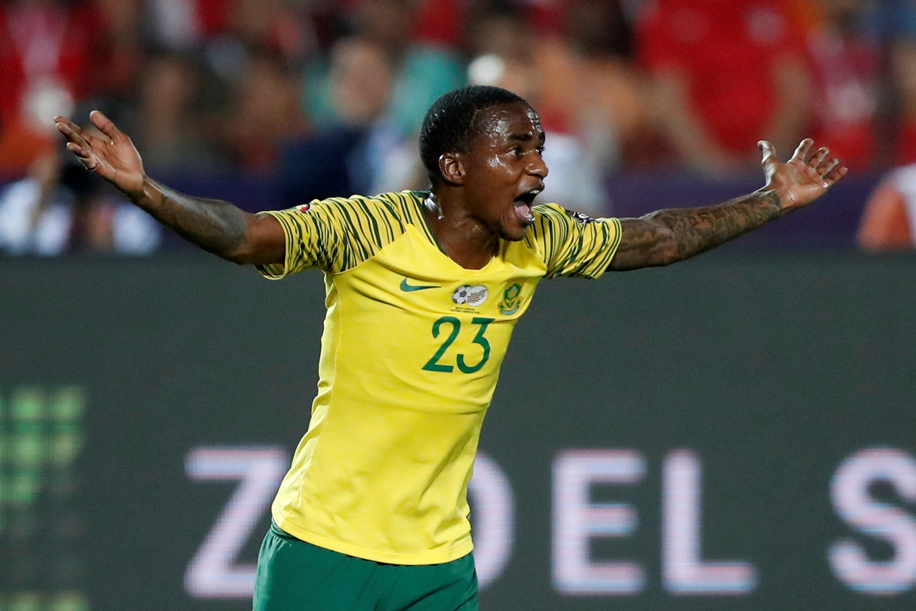 6 July 2019: Thembinkosi Lorch during Bafana Bafana's game against Egypt at Cairo International Stadium. The 1-0 win over the hosts saw South Africa reach the quarterfinals of Afcon 2019. (Photograph by Reuters/Amr Abdallah Dalsh)