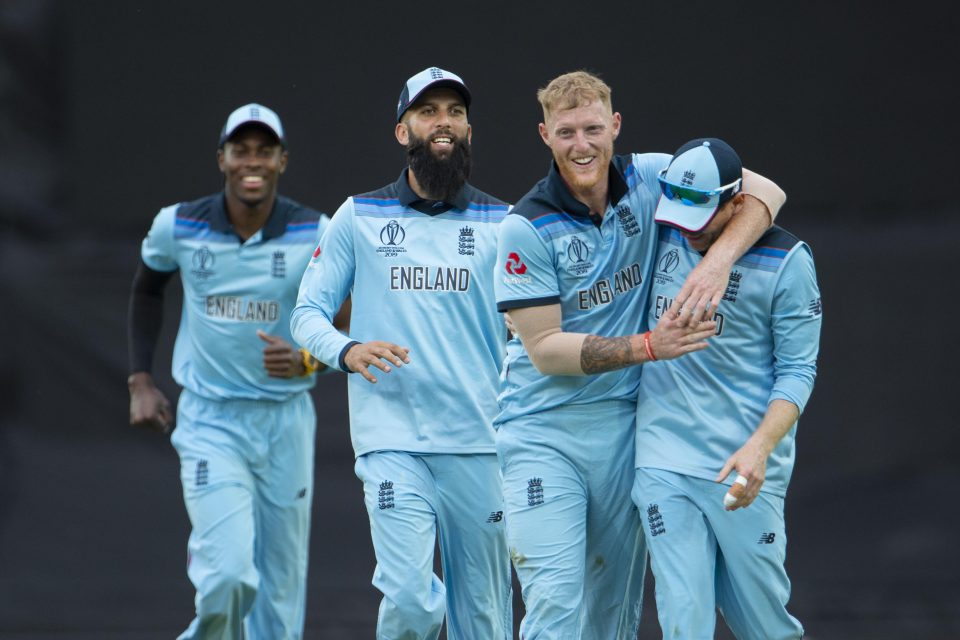30 May 2019: Ben Stokes (centre right) of England celebrates with Eoin Morgan (right), Moeen Ali and Jofra Archer (left) after beating South Africa at The Oval in London, England, during the ICC Cricket World Cup. (Photograph Visionhaus/Getty Images)