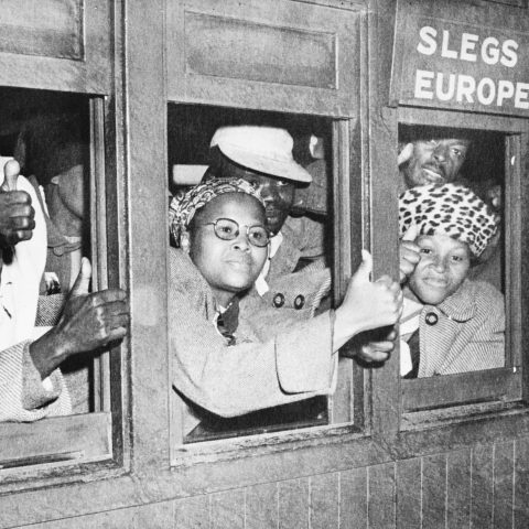 9 March 1952: Black passengers filled a train compartment marked 'Europeans only' in defiance of apartheid prime minister DF Malan's segregation rules, shouting the slogan 'Africa' on the ride into Cape Town. The police arrested 34 of them. (Photograph by Bettman/Contributor)