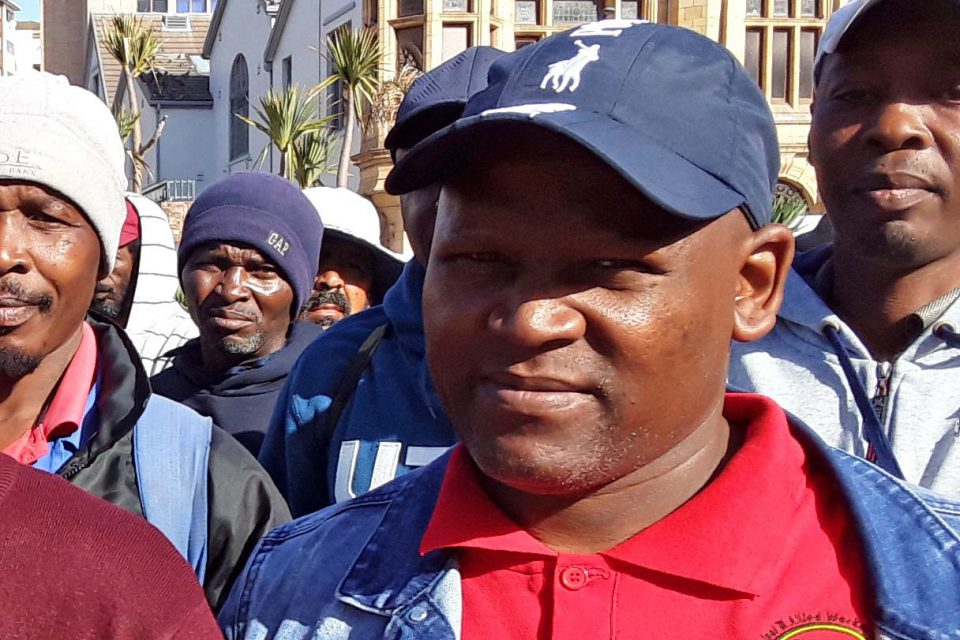 12 June 2019: Bongani Cola at a gathering outside the municipal headquarters in Nelson Mandela Bay to protest against the municipality's refusal to recognise the Demawusa union. (Photograph by Anna Majavu)