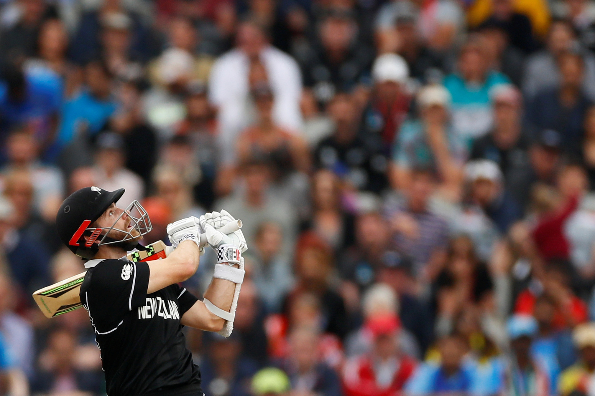 9 July 2019: New Zealand captain Kane Williamson whips the ball away for another boundary during the Black Caps' win against India in the Cricket World Cup semifinal at Old Trafford. (Photograph by Action Images via Reuters/Jason Cairnduff)