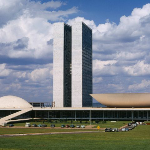 Circa 1980: The Congresso Nacional or Palacio Nereu Ramos, the Brazilian Parliament, designed by Brazilian architect Oscar Niemeyer in Brasilia, Brazil. It was inaugurated in 1960. (Photograph by Harvey Meston/Archive Photos/Getty Images)