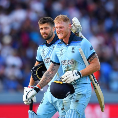 14 July 2019: England's Mark Wood (left) and Ben Stokes walk off the field with the scores level during the final of the ICC Cricket World Cup 2019 against New Zealand at Lord's in London, England. (Photograph by Clive Mason/Getty Images)