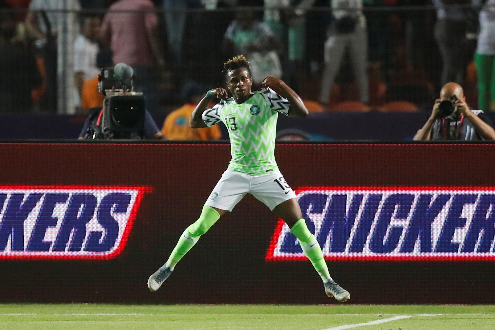 10 July 2019: Nigeria's Samuel Chukwueze celebrates scoring the first goal for the Super Eagles in their Africa Cup of Nations quarterfinal against South Africa at Cairo International Stadium in Egypt. (Photograph by Reuters/Amr Abdallah Dalsh)