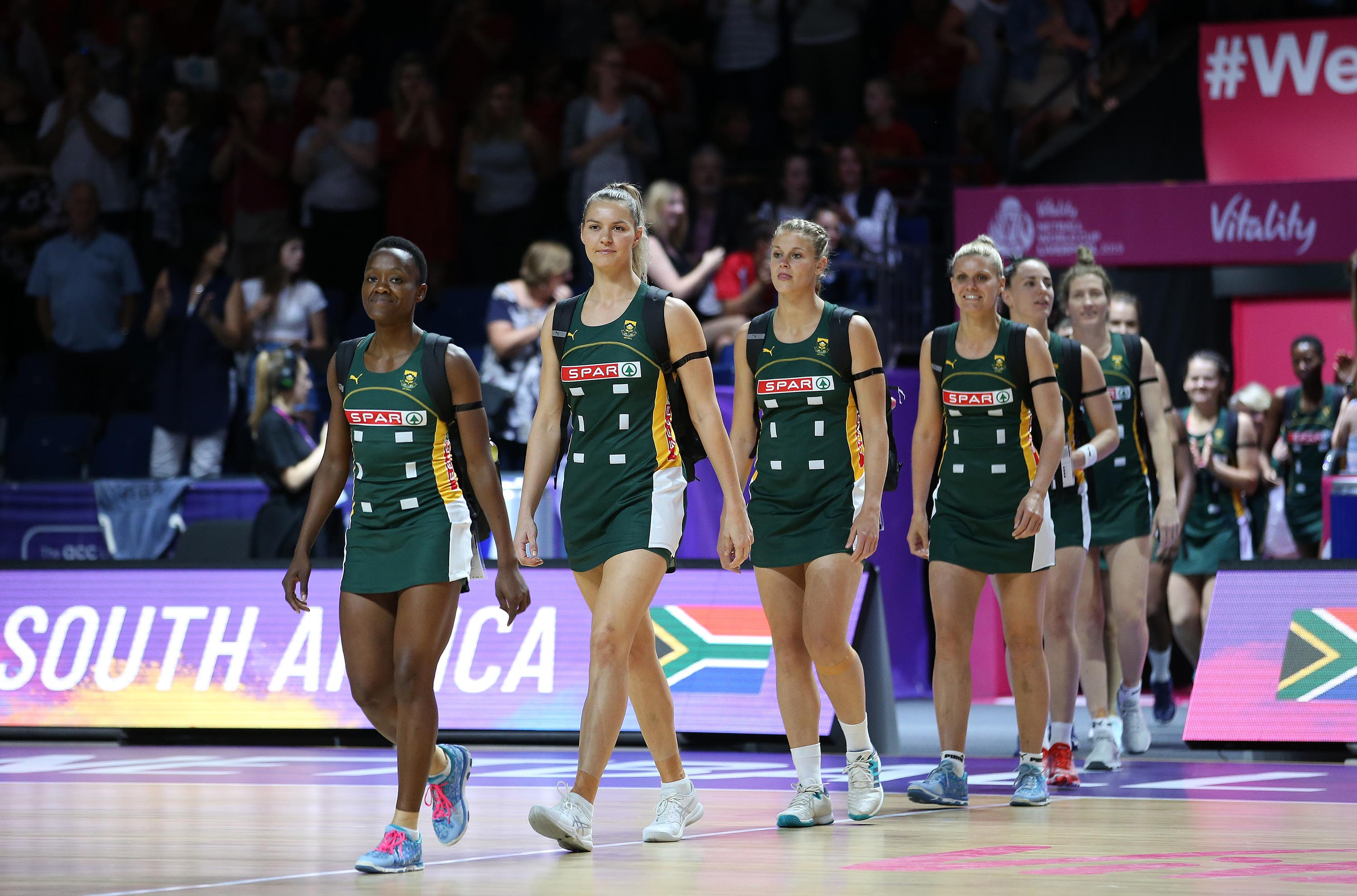 18 July 2019: The Spar Proteas take to the court for their Vitality Netball World Cup match against England at M&S Bank Arena in Liverpool, United Kingdom. (Photograph by Reg Caldecott/Gallo Images)