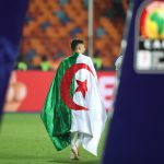 19 July 2019: One of Algeria's victorious players celebrates his team beating Senegal to win the Africa Cup of Nations Final at the Cairo International Stadium. (Photograph by Reuters/Sumaya Hisham)