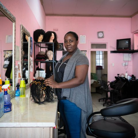 20 May 2019: Hairdresser Princess Ndlovu at a salon in the Johannesburg suburb of Melville, where she plies her trade. Ndlovu works with many clients, highlighting her contribution to hair culture.
