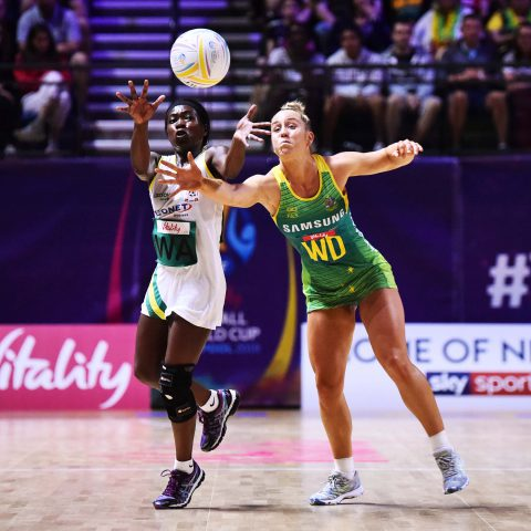 13 July 2019: Perpetua Siyachitema (left) of Zimbabwe and Jamie-Lee Price of Australia in action during preliminaries stage one match between Australia and Zimbabwe at M&S Bank Arena on July 13 in Liverpool, England. (Photograph by Getty Images/Nathan Stirk)