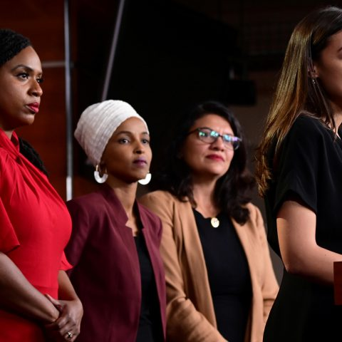 15 July 2019: (From left) Ayanna Pressley, Ilhan Omar, Rashida Tlaib and Alexandria Ocasio-Cortez at a news conference after Democrats in the United States Congress moved to formally condemn President Donald Trump's attacks on the four congresswomen. (Photograph by Reuters/Erin Scott)