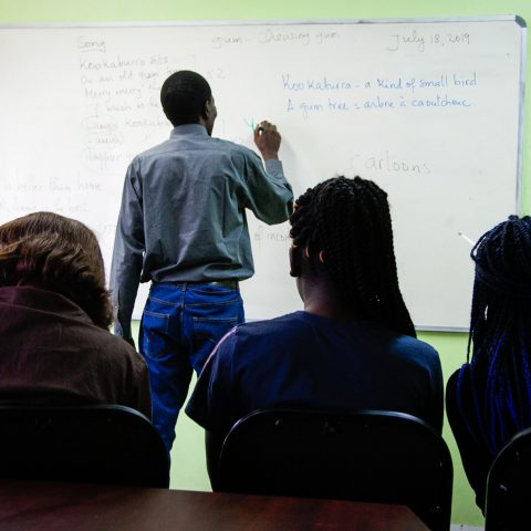18 July 2019: Theophile Mugisho teaching English at the Refugee Social Services at the Diakonia Centre in Durban.